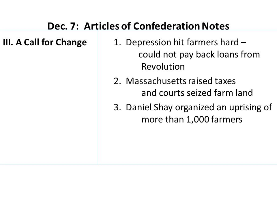 Dec. 7: Articles of Confederation Notes III. A Call for Change1.