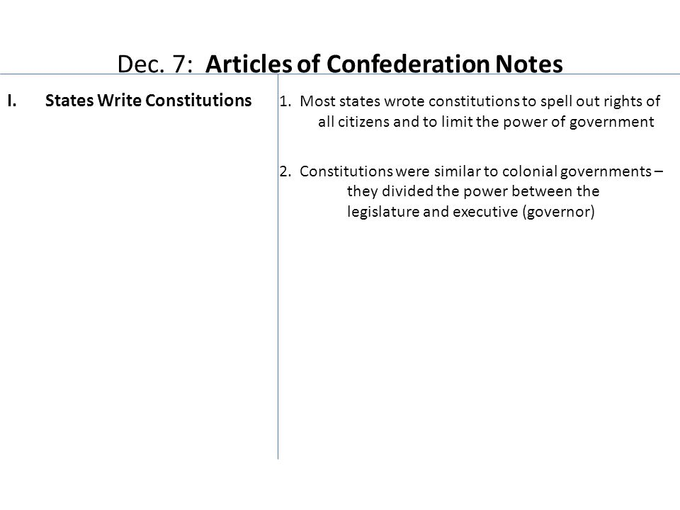Dec. 7: Articles of Confederation Notes I.States Write Constitutions 1.