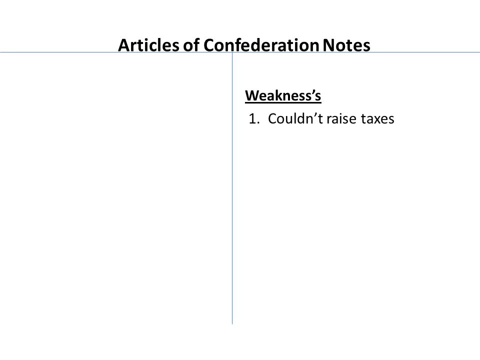 Articles of Confederation Notes Weakness's 1. Couldn't raise taxes