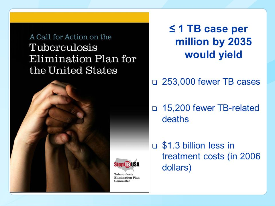 ≤ 1 TB case per million by 2035 would yield  253,000 fewer TB cases  15,200 fewer TB-related deaths  $1.3 billion less in treatment costs (in 2006 dollars)