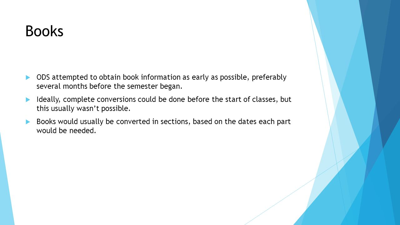 Books  ODS attempted to obtain book information as early as possible, preferably several months before the semester began.