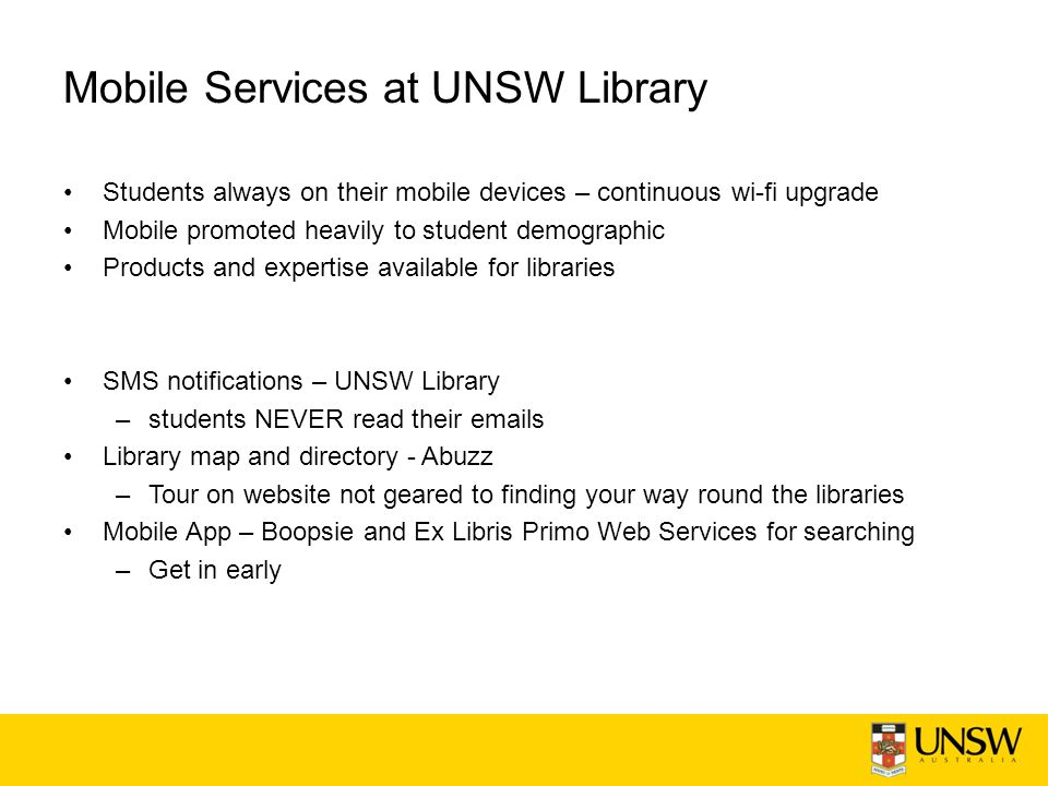 Library app Does not work with iOS2 The yellow screen of death FRBRised records Search results not the same as the web interface –Scope –XML namespace –Web services started to require Institution –Exclusion of Expand beyond my collections : initially filtered out then Primo web service –Web services started to require IP Relevance sorting: leave blank Which link for online: GETIT, LINKS, linktorsrc, openurlfulltext, or openurl Last record of the first page is first record on second page Cancel hold/recall does not take effect Can't renew an item Fine amounts not showing