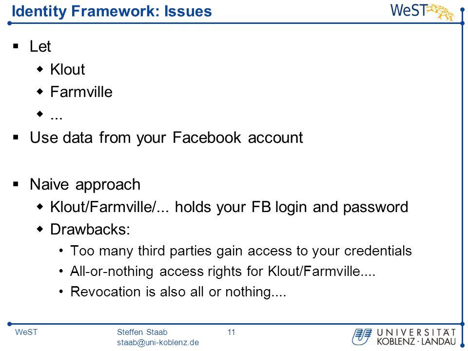 Steffen Staab staab@uni-koblenz.de 11WeST Identity Framework: Issues  Let  Klout  Farmville ...