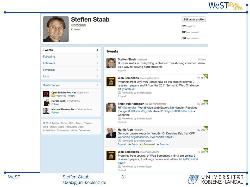 Steffen Staab staab@uni-koblenz.de 31WeST
