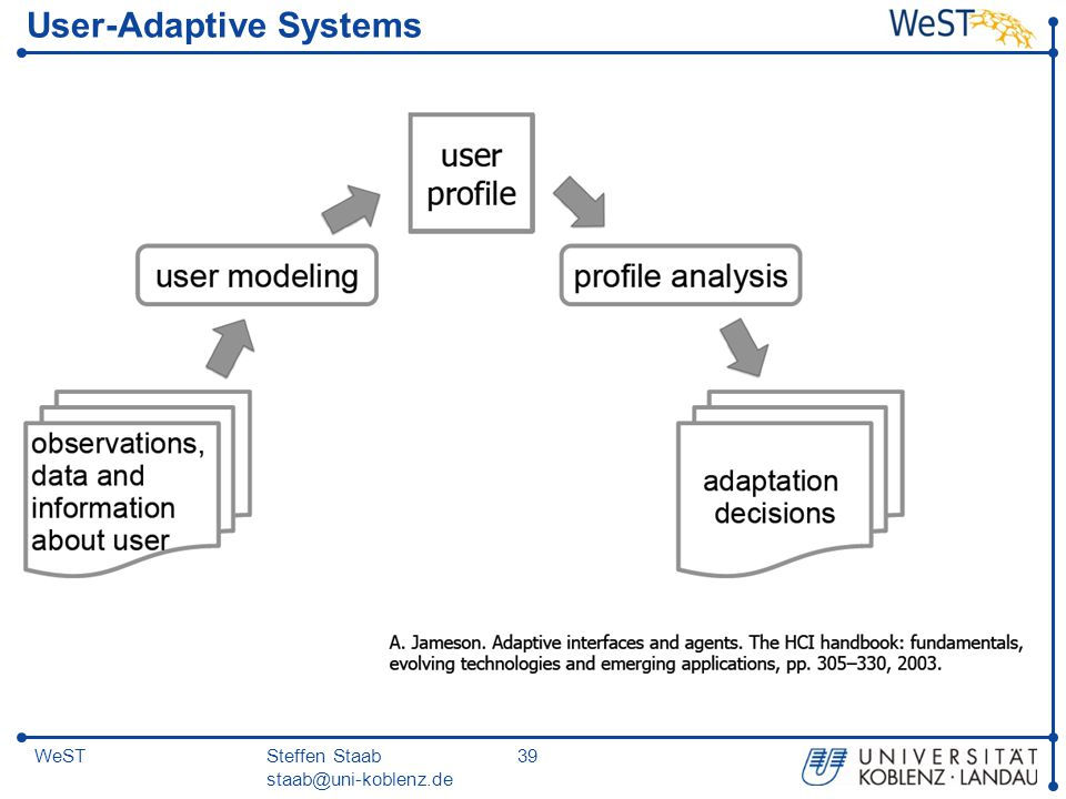Steffen Staab staab@uni-koblenz.de 39WeST User-Adaptive Systems