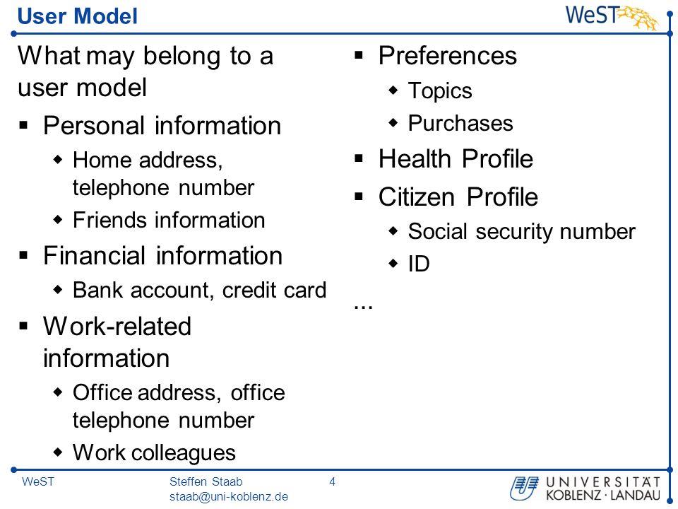 Steffen Staab staab@uni-koblenz.de 25WeST User Modeling Approaches  Overlay User Modeling: describe user characteristics, e.g.