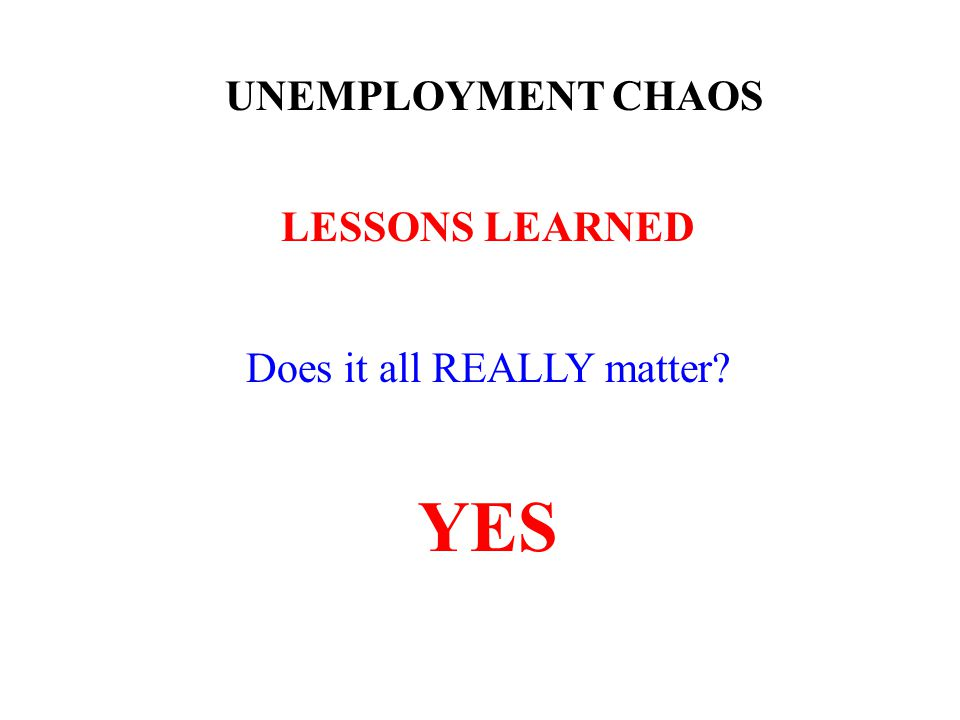 UNEMPLOYMENT CHAOS LESSONS LEARNED Does it all REALLY matter YES