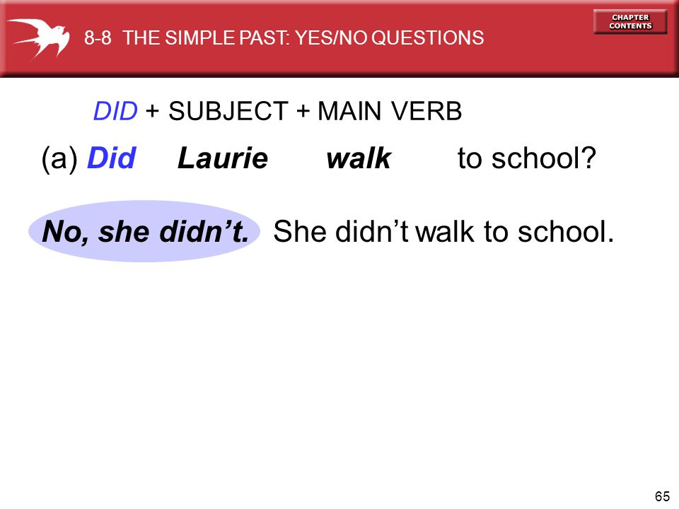 66 DID + SUBJECT + MAIN VERB (b) Did you practice the violin.
