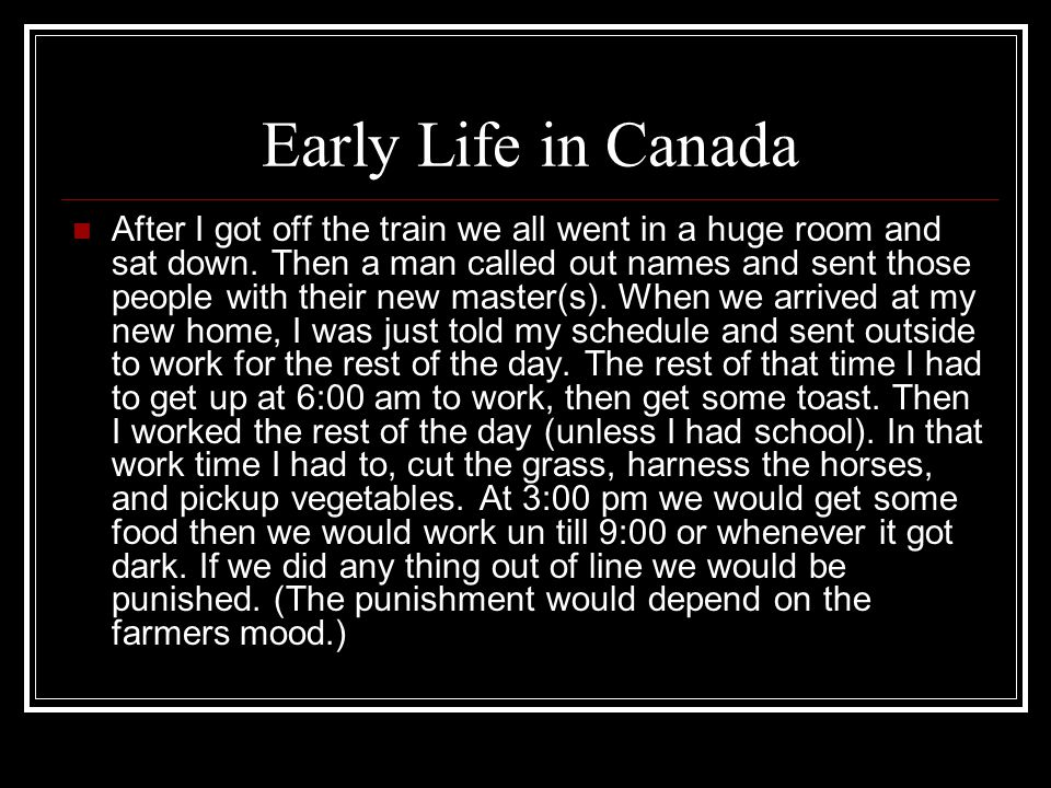 Later life in Canada