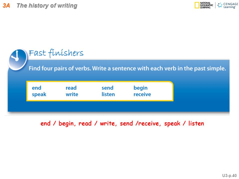 3A The history of writing end / begin, read / write, send /receive, speak / listen