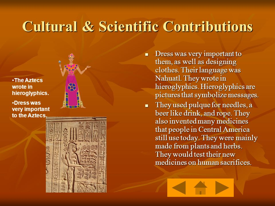 Cultural & Scientific Contributions Dress was very important to them, as well as designing clothes.