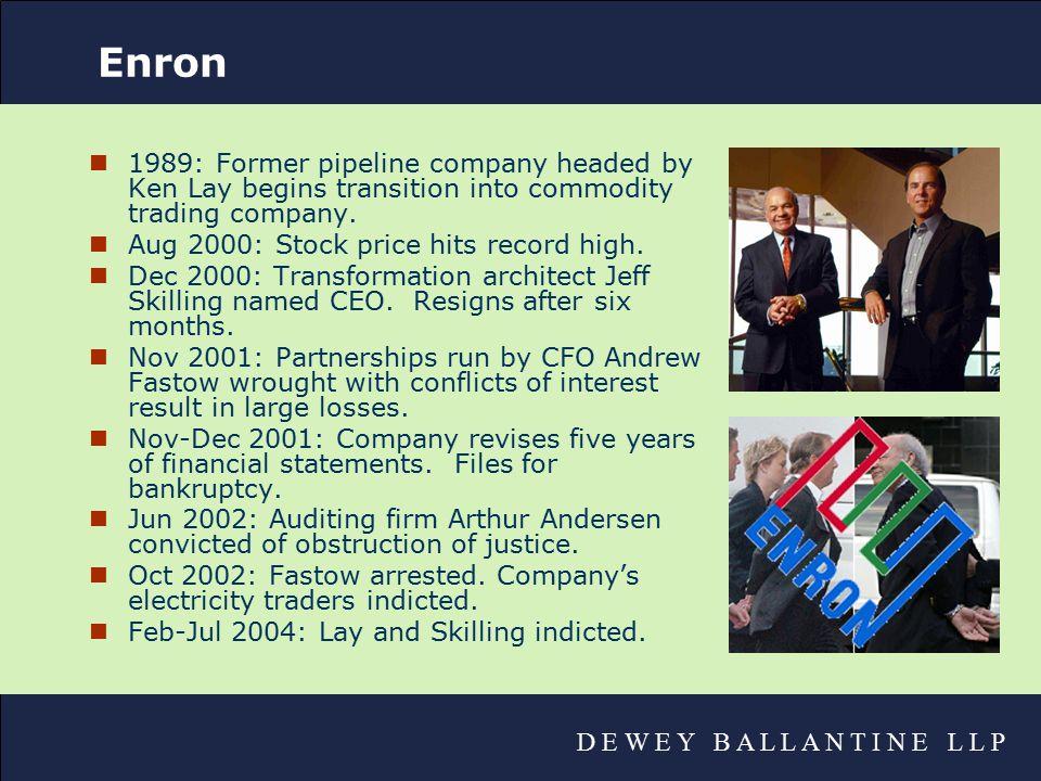 D E W E Y B A L L A N T I N E L L P WorldCom nApr 1998: Long-distance reseller WorldCom, run by Bernard Ebbers, buys MCI for $47 billion.