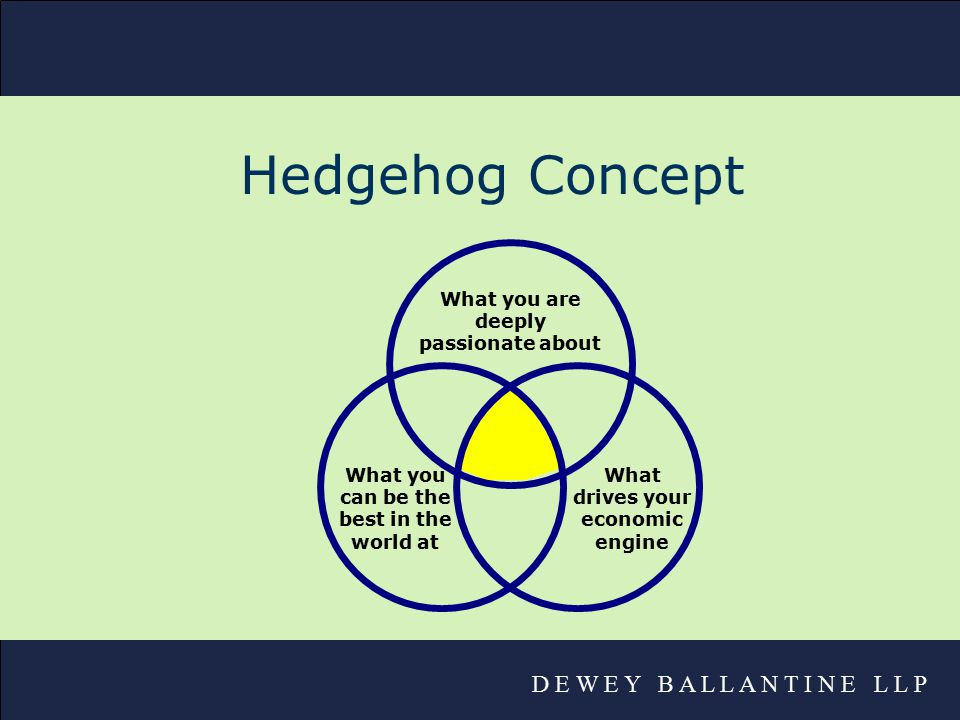 D E W E Y B A L L A N T I N E L L P Hedgehog Concept What you are deeply passionate about What you can be the best in the world at What drives your economic engine