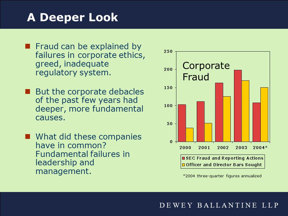 D E W E Y B A L L A N T I N E L L P A Deeper Look nFraud can be explained by failures in corporate ethics, greed, inadequate regulatory system.