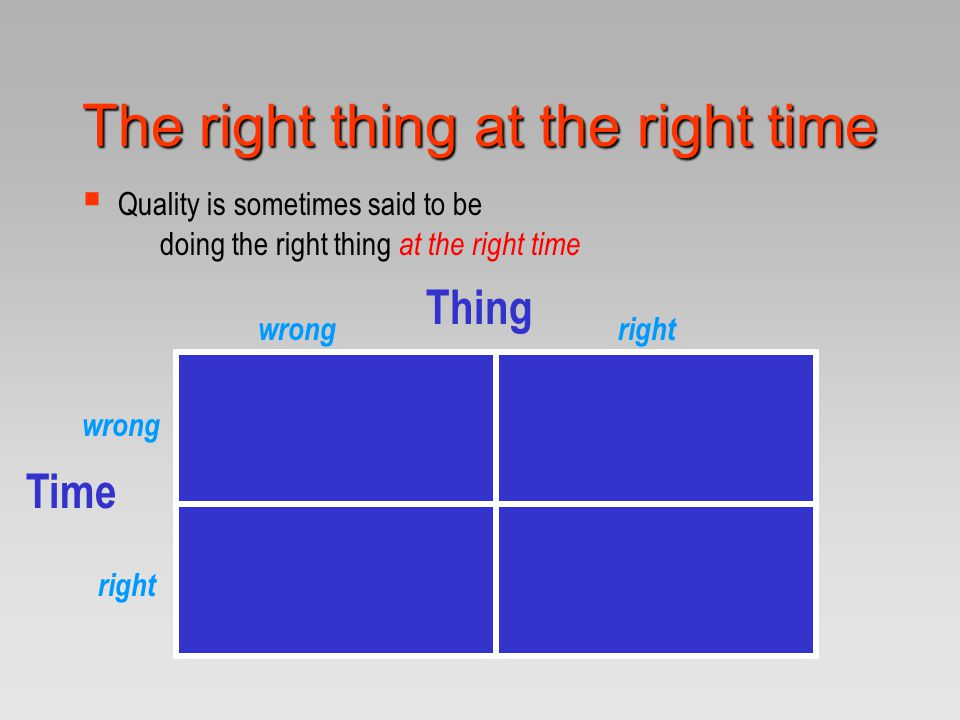 The right thing at the right time  Quality is sometimes said to be doing the right thing at the right time Thing Time wrongright wrong right