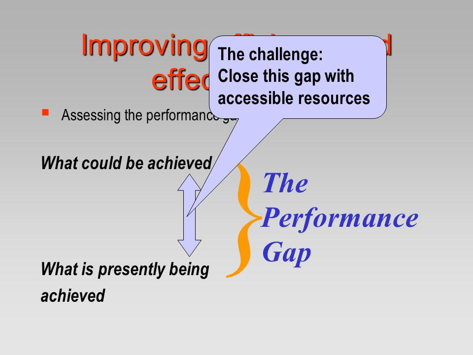 Improving efficiency and effectiveness  Assessing the performance gap What could be achieved What is presently being achieved } The Performance Gap T