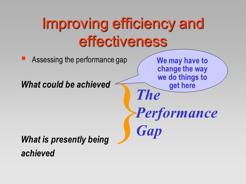 Improving efficiency and effectiveness  Assessing the performance gap What could be achieved What is presently being achieved } The Performance Gap W