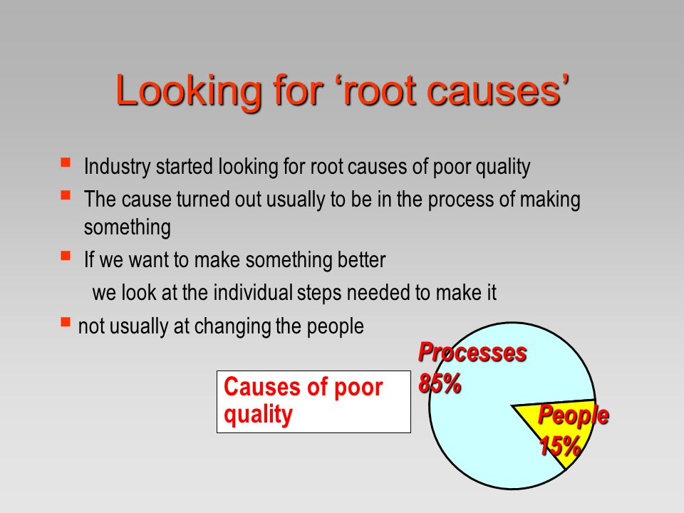 Looking for 'root causes'  Industry started looking for root causes of poor quality  The cause turned out usually to be in the process of making som