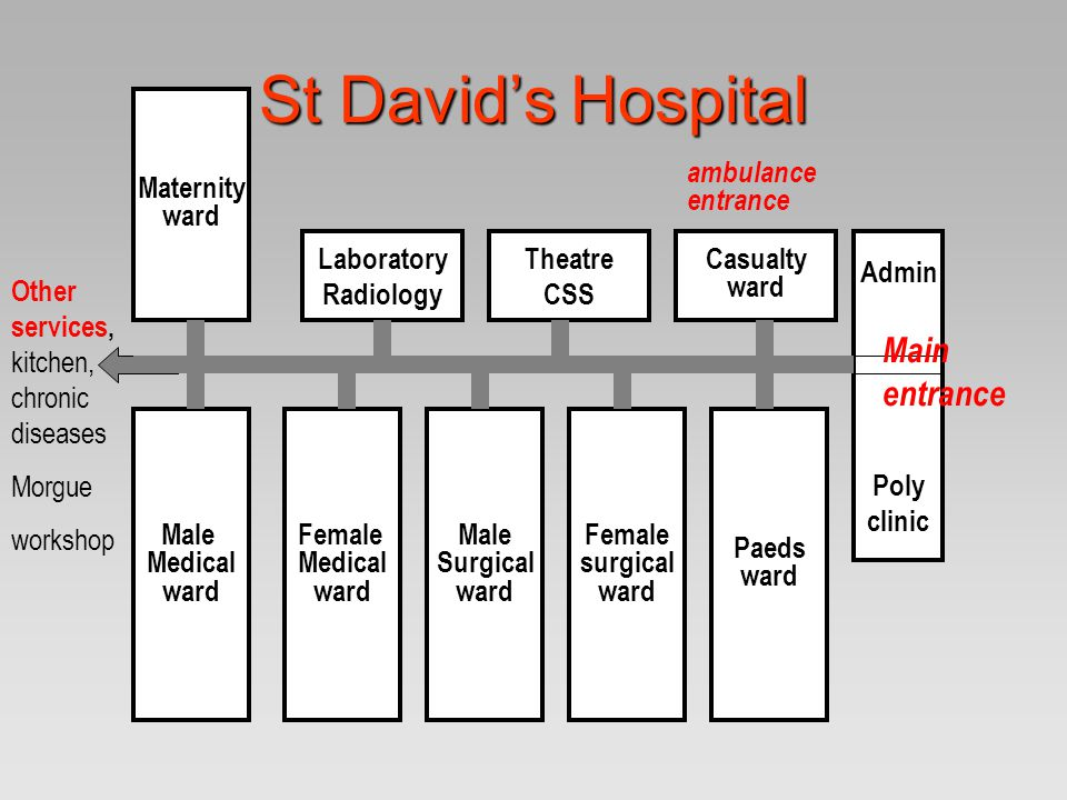 St David's Hospital Admin Poly clinic Casualty ward Theatre CSS Laboratory Radiology Paeds ward Female surgical ward Male Surgical ward Female Medical