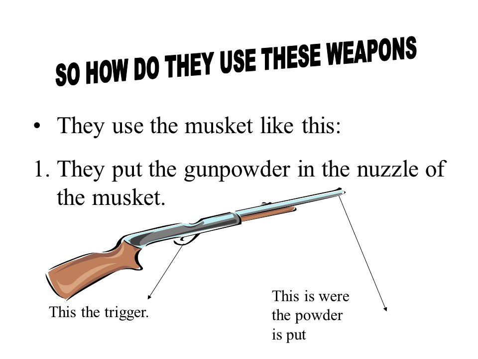 They use the musket like this: 1.They put the gunpowder in the nuzzle of the musket.