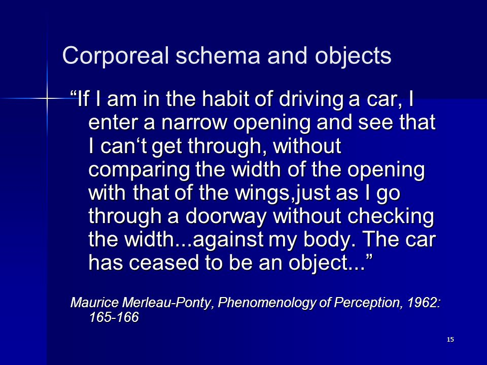 "15 Corporeal schema and objects ""If I am in the habit of driving a car, I enter a narrow opening and see that I can't get through, without comparing t"