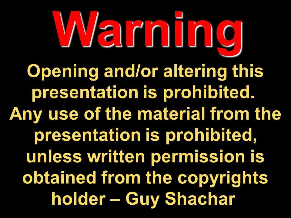 מצגת זו מוגנת על פי חוק זכויות יוצרים.