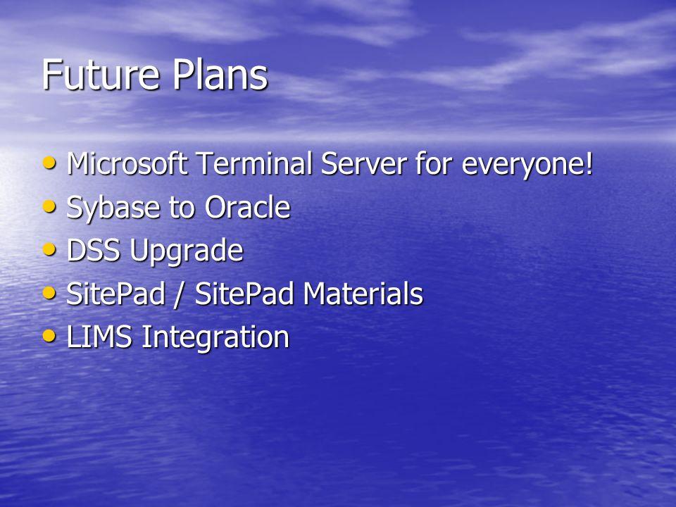 Future Plans Microsoft Terminal Server for everyone.