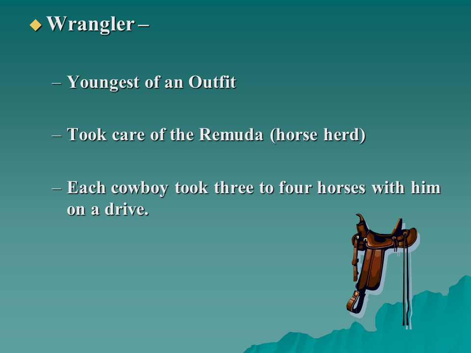  Wrangler – –Youngest of an Outfit –Took care of the Remuda (horse herd) –Each cowboy took three to four horses with him on a drive.