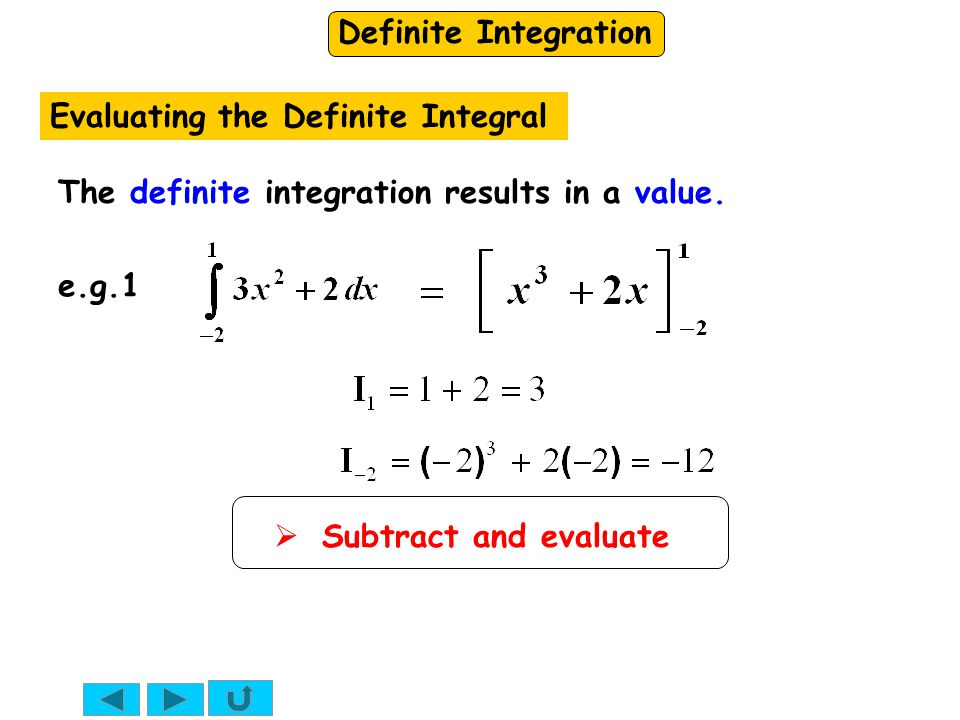 Definite Integration Evaluating the Definite Integral  Subtract and evaluate The definite integration results in a value.