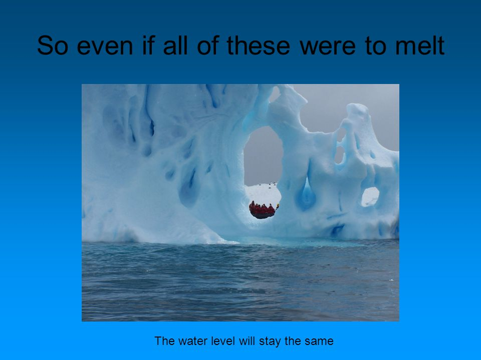 So even if all of these were to melt The water level will stay the same