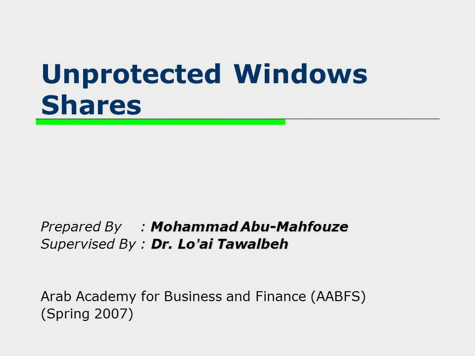 Unprotected Windows Shares Mohammad Abu-Mahfouze Prepared By : Mohammad Abu-Mahfouze Dr. Lo ' ai Tawalbeh Supervised By : Dr. Lo ' ai Tawalbeh Arab Ac