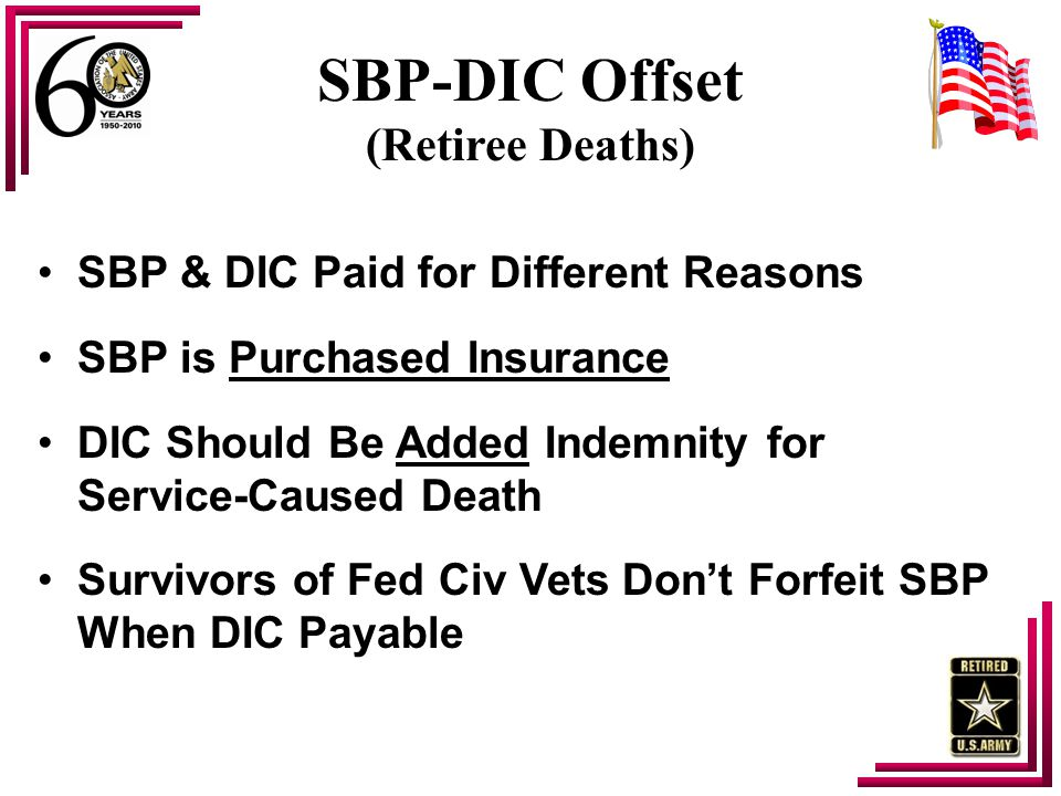 SBP-DIC Offset (Retiree Deaths) SBP & DIC Paid for Different Reasons SBP is Purchased Insurance DIC Should Be Added Indemnity for Service-Caused Death