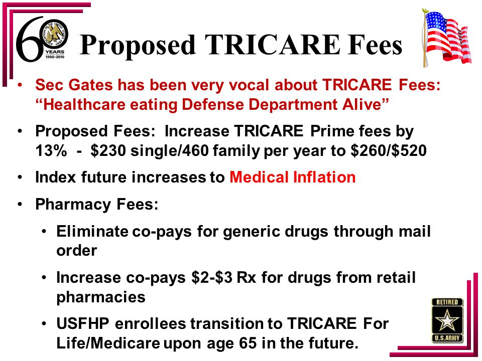 "Proposed TRICARE Fees Sec Gates has been very vocal about TRICARE Fees: ""Healthcare eating Defense Department Alive"" Proposed Fees: Increase TRICARE P"