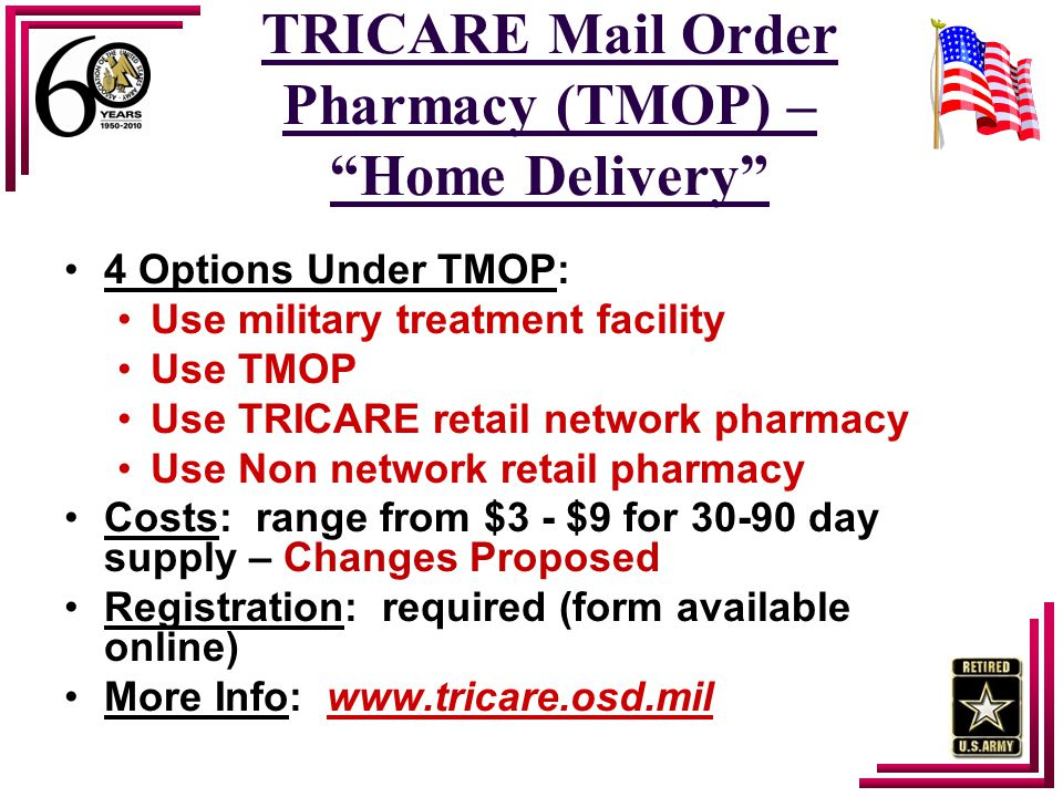 "TRICARE Mail Order Pharmacy (TMOP) – ""Home Delivery"" 4 Options Under TMOP: Use military treatment facility Use TMOP Use TRICARE retail network pharmac"