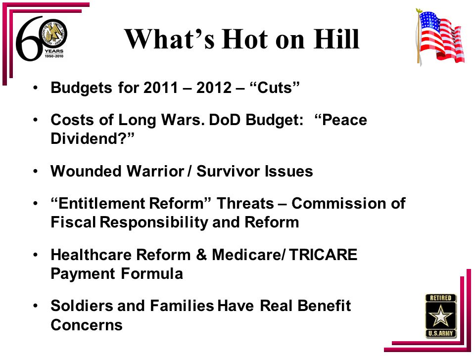 "What's Hot on Hill Budgets for 2011 – 2012 – ""Cuts"" Costs of Long Wars. DoD Budget: ""Peace Dividend?"" Wounded Warrior / Survivor Issues ""Entitlement R"