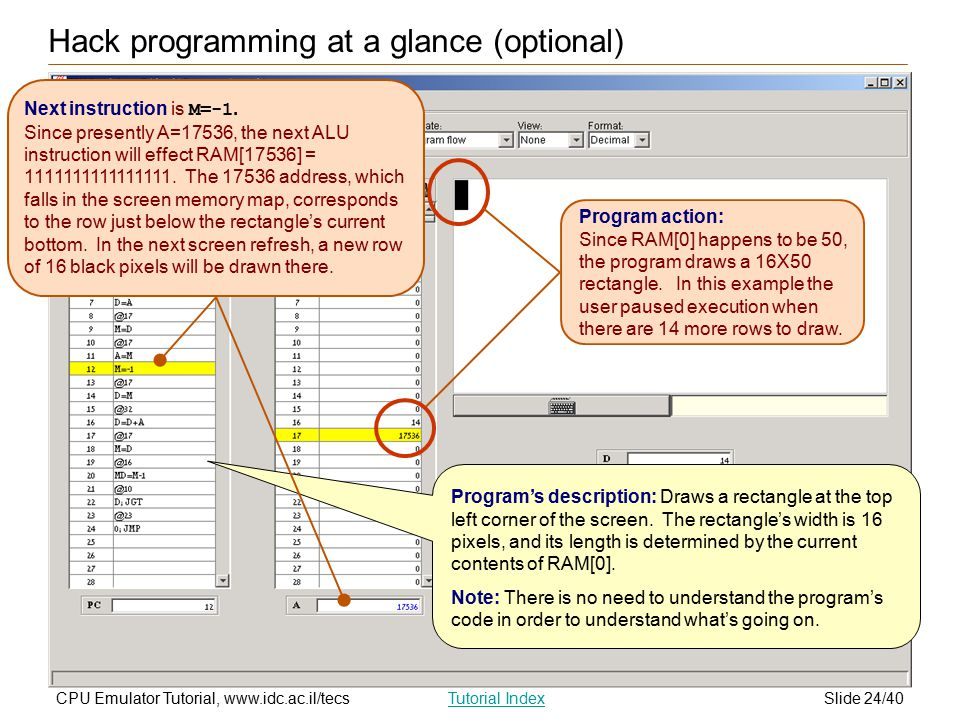 Slide 24/40CPU Emulator Tutorial, www.idc.ac.il/tecsTutorial Index Hack programming at a glance (optional) Program action: Since RAM[0] happens to be 50, the program draws a 16X50 rectangle.