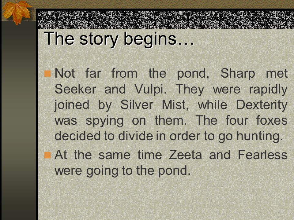 The story begins… Not far from the pond, Sharp met Seeker and Vulpi.