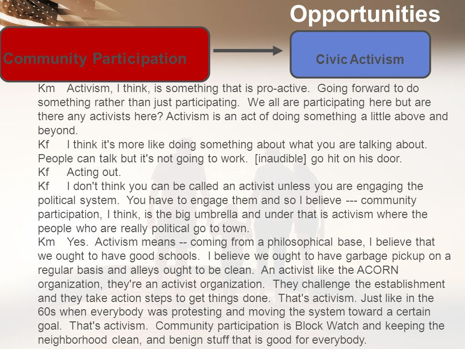 Opportunities Community Participation Civic Activism KfI think it s ongoing with the -- it s ongoing.