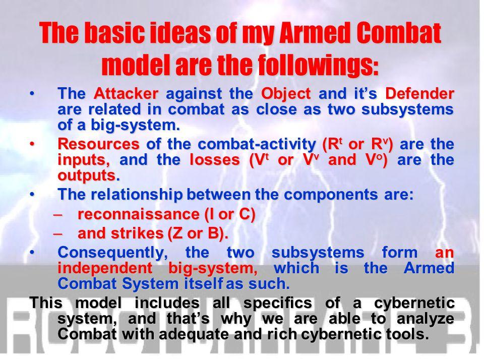 Z ZvZv ZoZo VtVt VvVv C B ARMED COMBAT SYSTEM RtRt RvRv VoVo OBJECT ATTACKER DEFENDER I v I IkIk IoIo ARMED COMBAT AS A SYSTEM