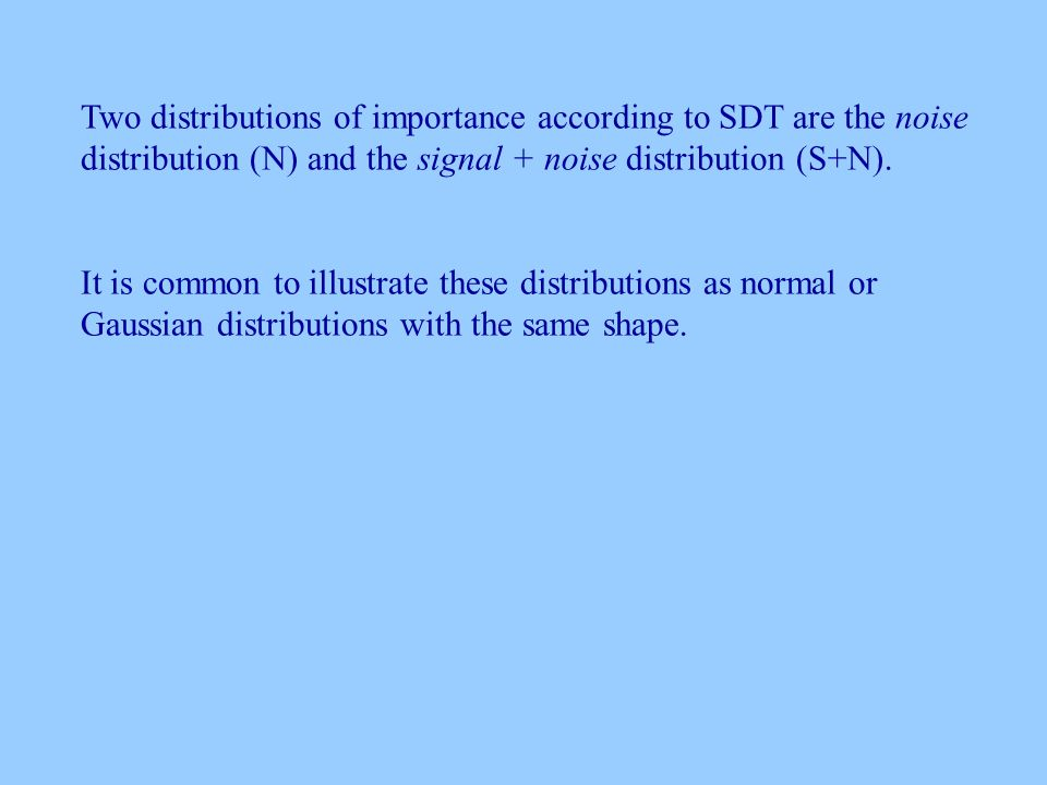 Two distributions of importance according to SDT are the noise distribution (N) and the signal + noise distribution (S+N).