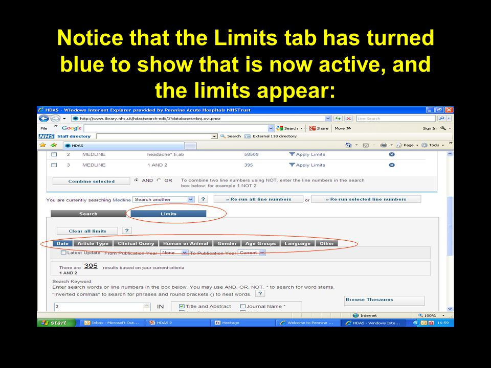 Notice that the Limits tab has turned blue to show that is now active, and the limits appear: