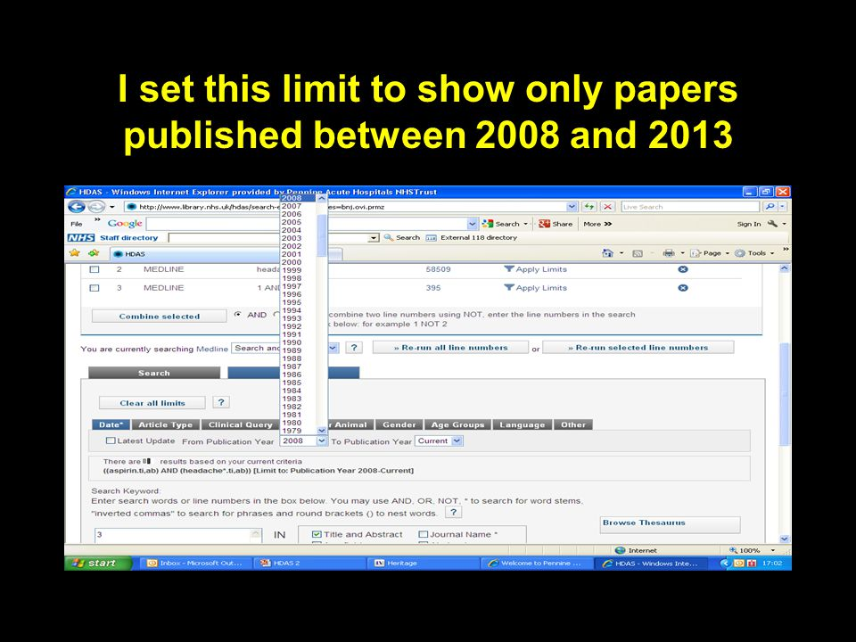 I set this limit to show only papers published between 2008 and 2013