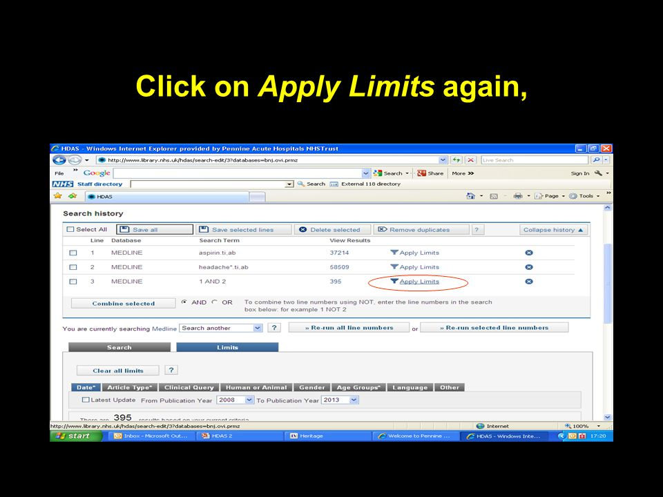 Click on Apply Limits again,