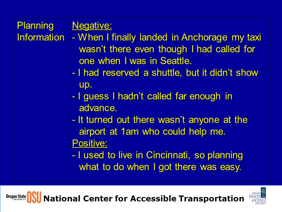 National Center for Accessible Transportation Planning Information Negative: - When I finally landed in Anchorage my taxi wasn't there even though I had called for one when I was in Seattle.