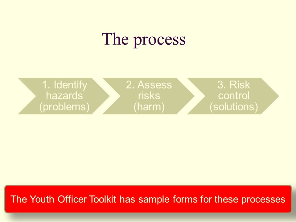 1. Identify hazards (problems) 2. Assess risks (harm) 3. Risk control (solutions) The process The Youth Officer Toolkit has sample forms for these pro