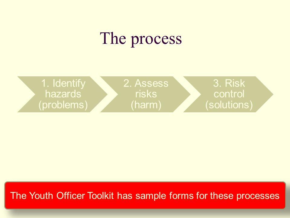 1.Identify hazards (problems) 2. Assess risks (harm) 3.