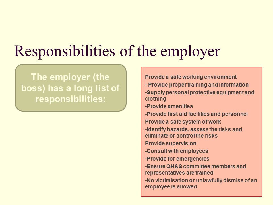 Responsibilities of the employer Provide a safe working environment - Provide proper training and information -Supply personal protective equipment and clothing -Provide amenities -Provide first aid facilities and personnel Provide a safe system of work -Identify hazards, assess the risks and eliminate or control the risks Provide supervision -Consult with employees -Provide for emergencies -Ensure OH&S committee members and representatives are trained -No victimisation or unlawfully dismiss of an employee is allowed The employer (the boss) has a long list of responsibilities: