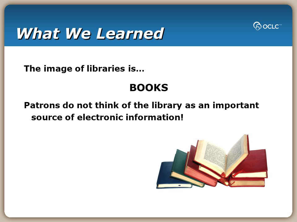 What We Learned The image of libraries is… BOOKS Patrons do not think of the library as an important source of electronic information!