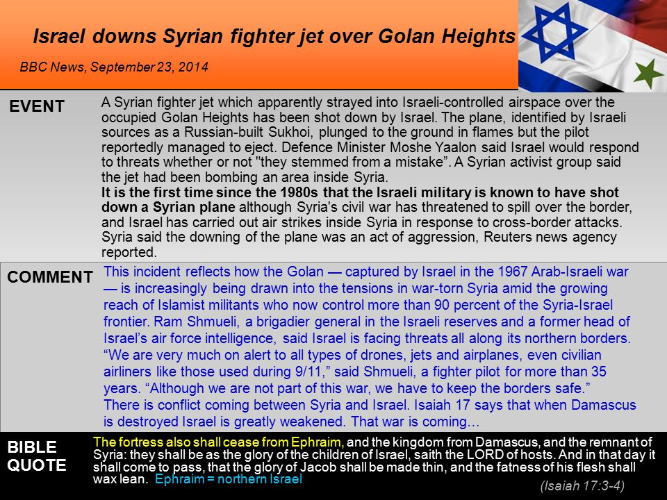 Israel downs Syrian fighter jet over Golan Heights A Syrian fighter jet which apparently strayed into Israeli-controlled airspace over the occupied Golan Heights has been shot down by Israel.