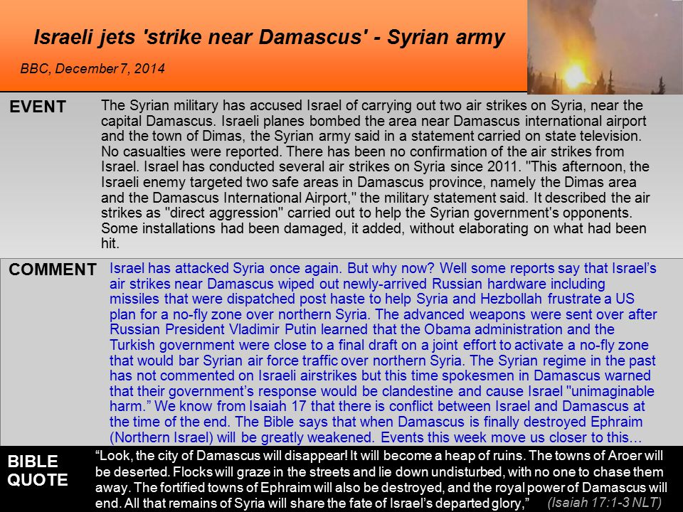 The Syrian military has accused Israel of carrying out two air strikes on Syria, near the capital Damascus.